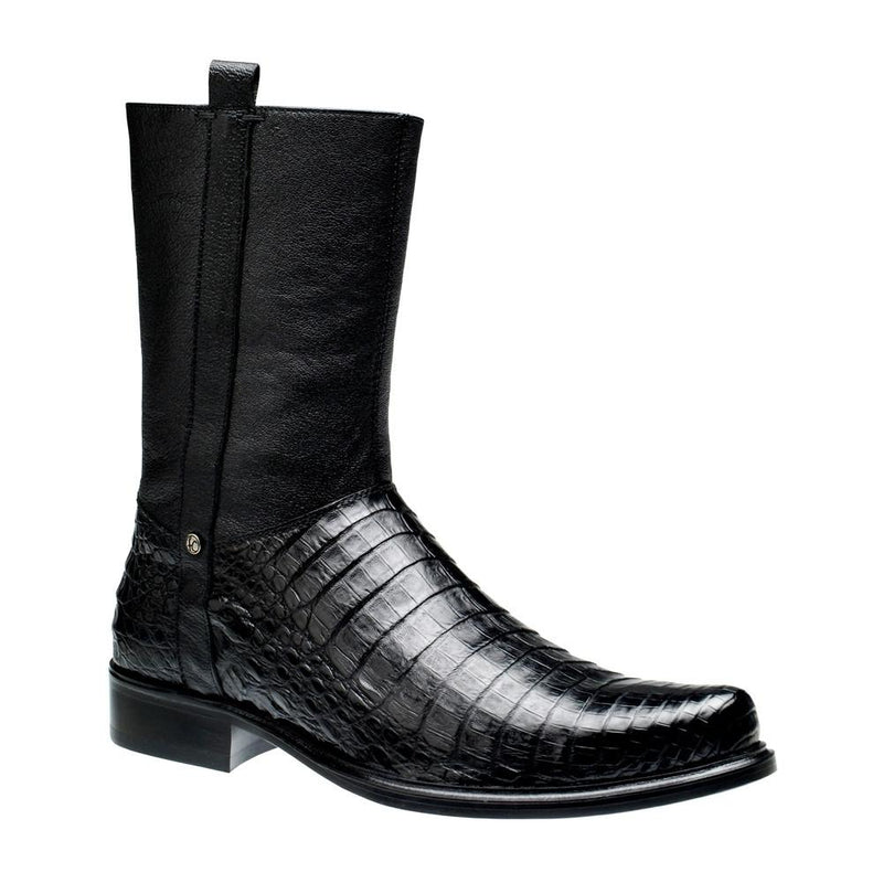 CUADRA Men's Black Caiman Ankle Boots - Round Toe