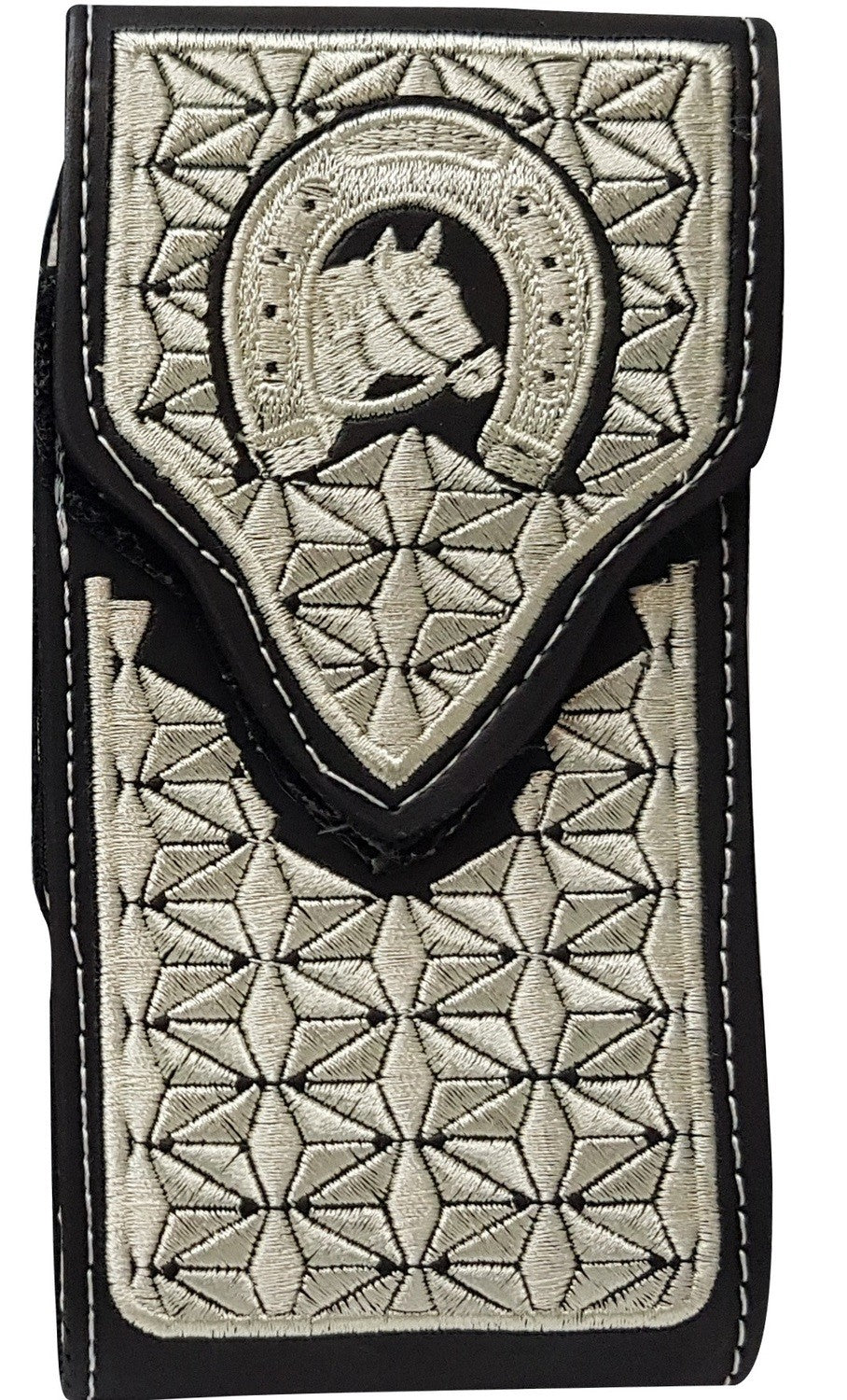Embroidered Black Cell Phone Case