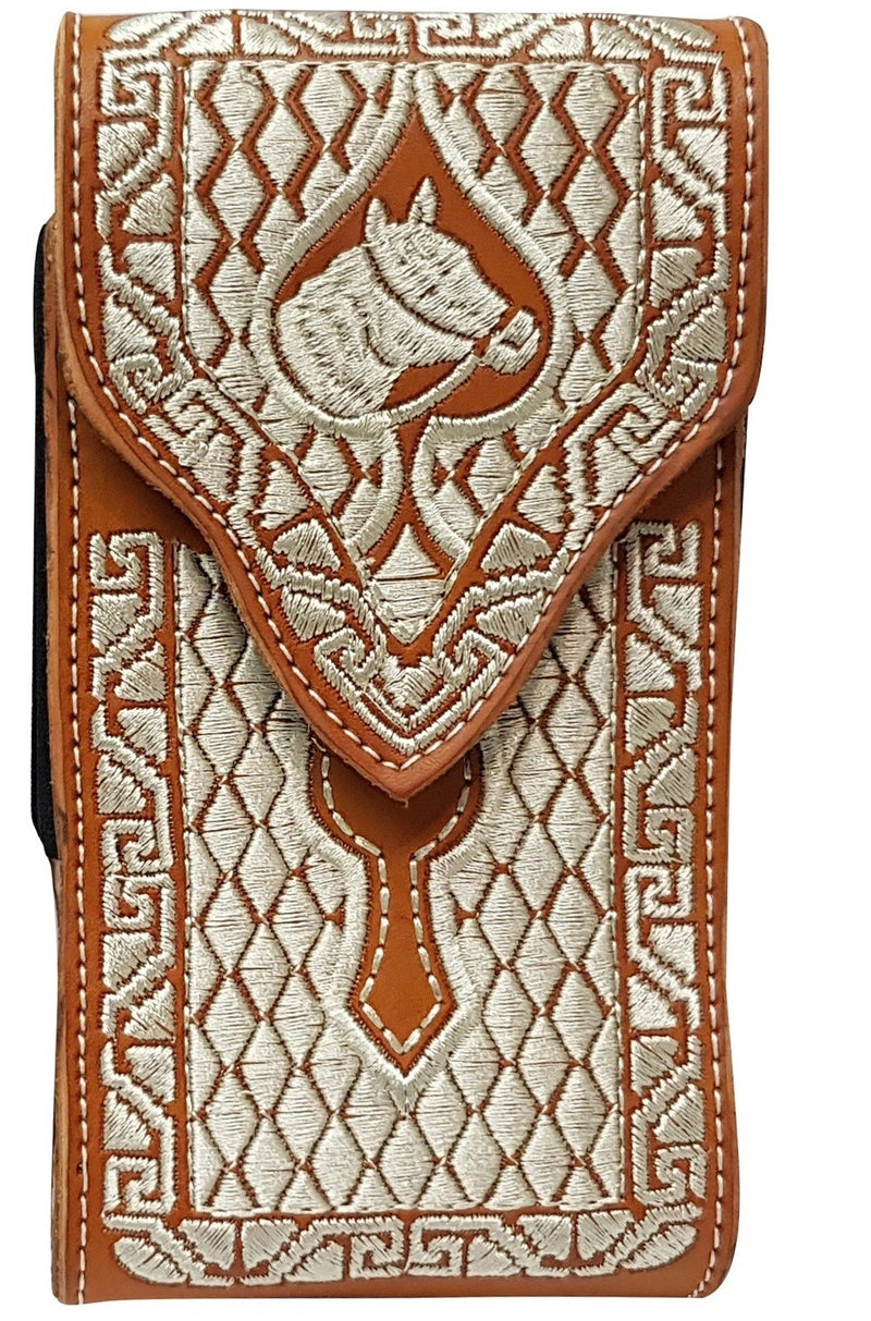 Embroidered Tan Cell Phone Case