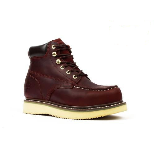 "AMERICAN SMITH Men's 6"" Burgundy Work Boots - Moc Toe"