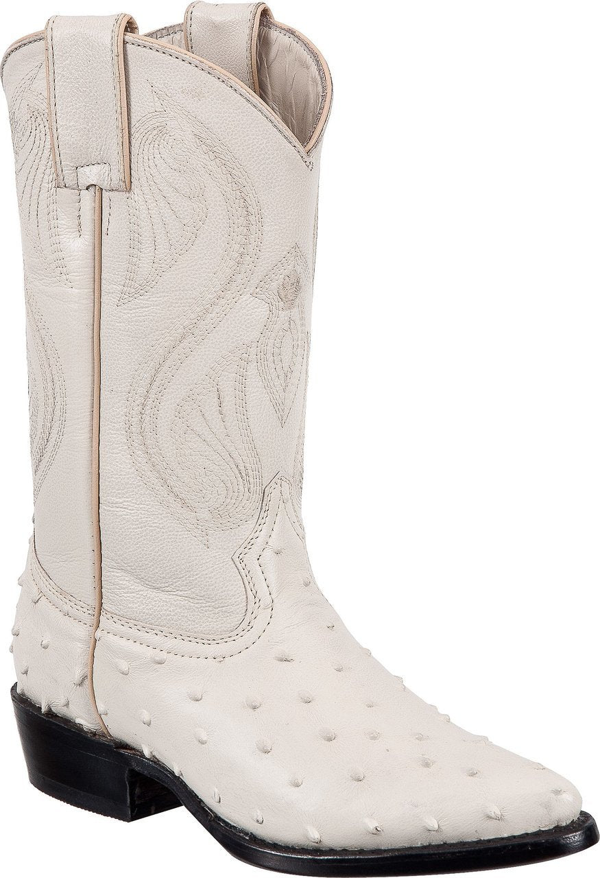 TIERRA BLANCA Men's Bone Ostrich Print Boots - Pointed Toe
