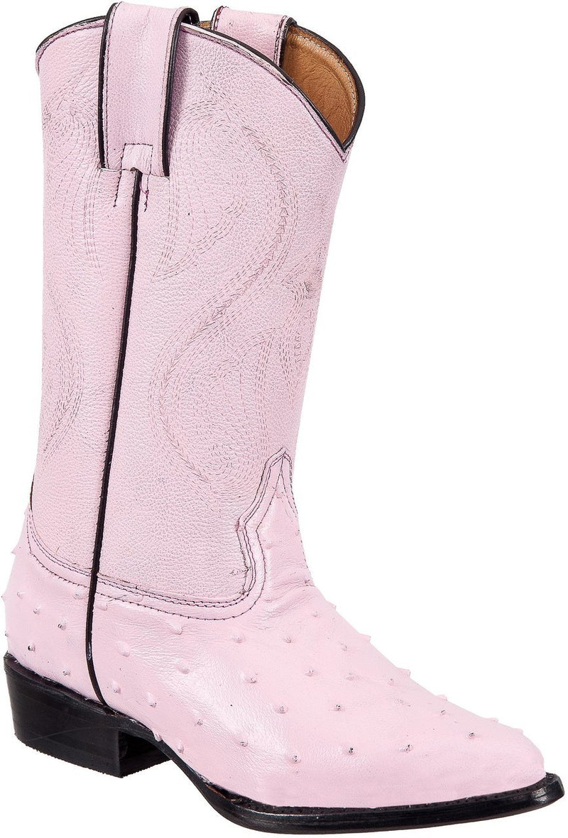 TIERRA BLANCA Youth Pink Ostrich Print Boots