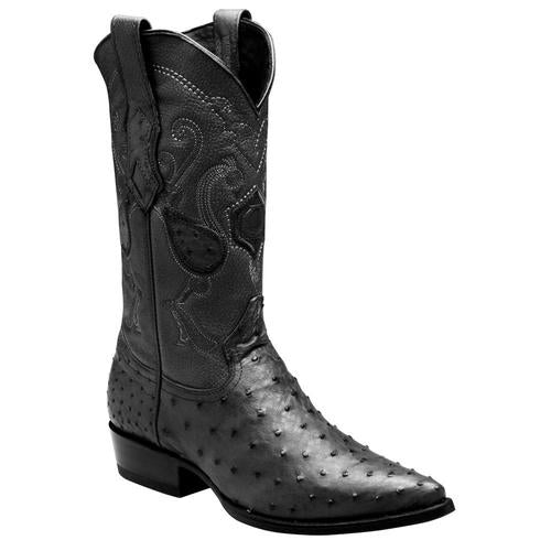 CUADRA Men's Black Full Quill Ostrich Exotic Boots - Pointed Toe