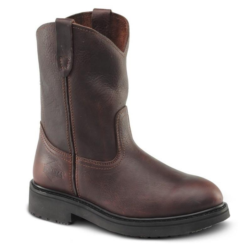 "BONANZA Men's 10"" Brown Wellington Work Boots - Steel Toe"