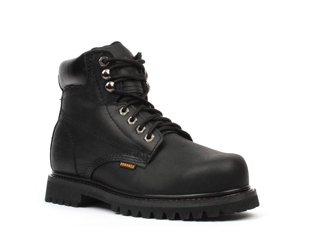 "BONANZA Men's 6"" Black Work Boots - Steel Toe"
