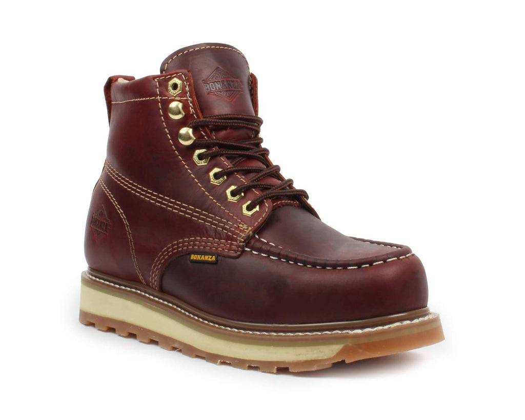 "BONANZA Men's 6"" Burgundy Work Boots - Steel Toe"