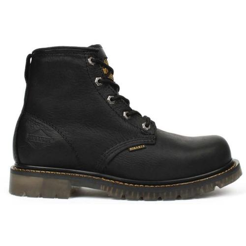 "BONANZA Men's 6"" Black Work Boots - Plain Toe"
