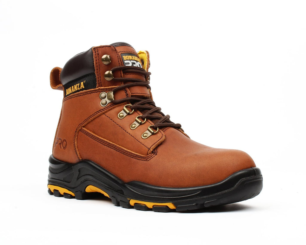 "BONANZA Men's 6"" Brown Work Boots - Steel Toe"
