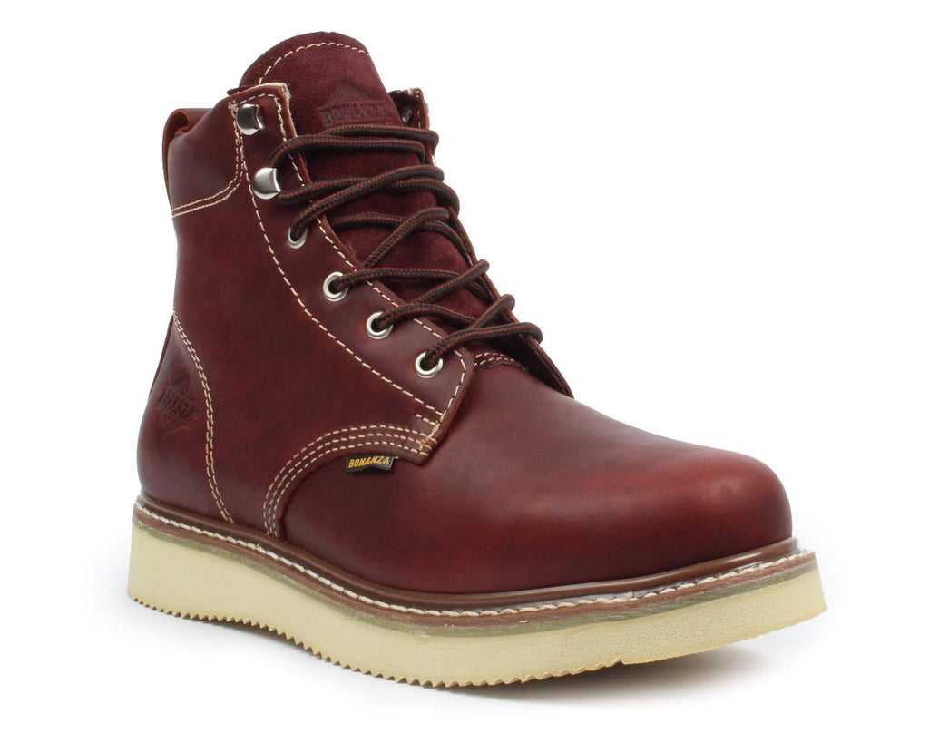 "BONANZA Men's 6"" Burgundy Round Toe Work Boots"