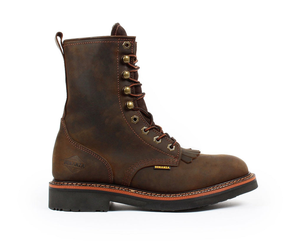 "BONANZA Men's 8"" Dark Brown Lacer Boots"