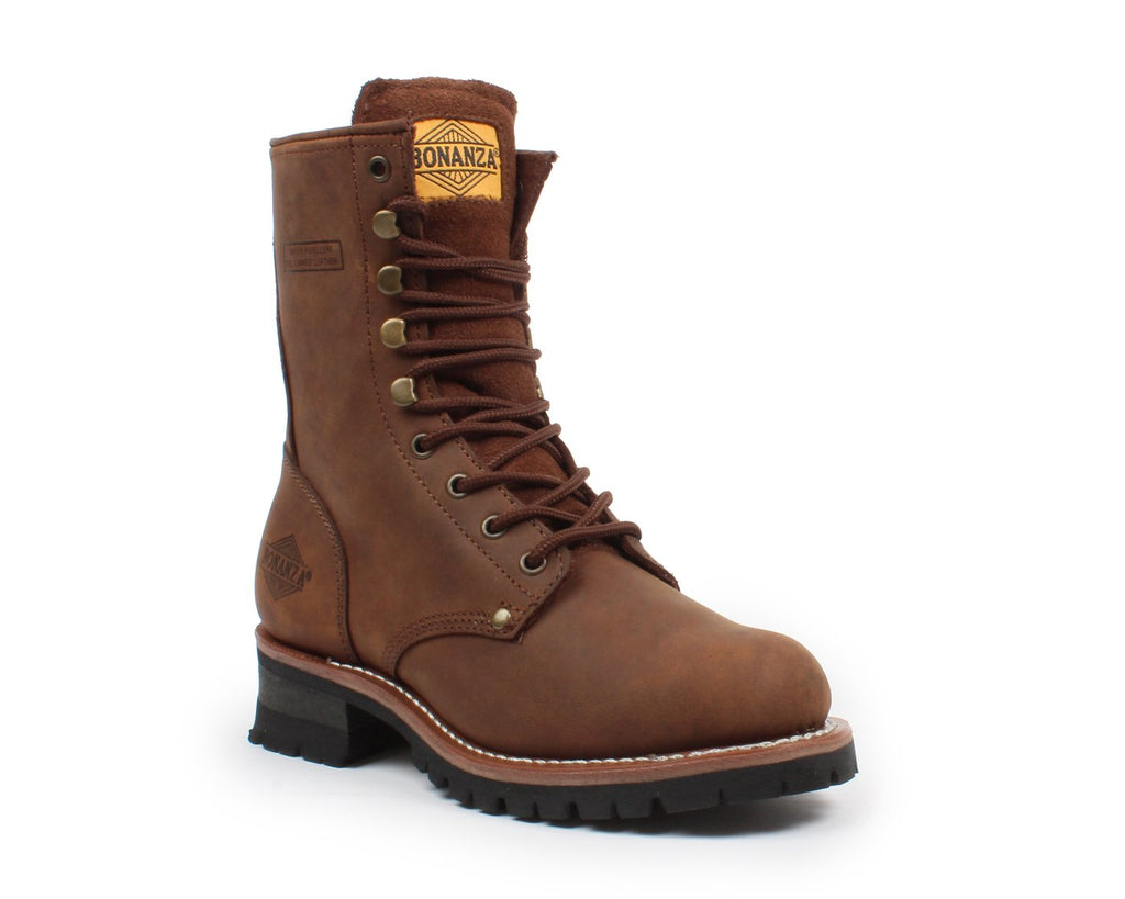 "BONANZA Men's 9"" Brown Logger Work Boots - Steel Toe"