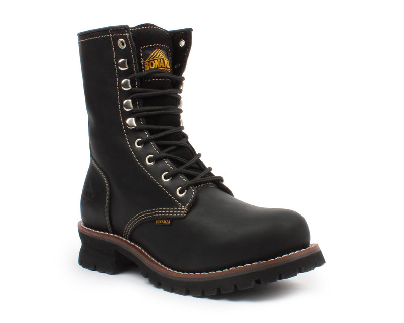 "BONANZA Men's 9"" Black Logger Work Boots"