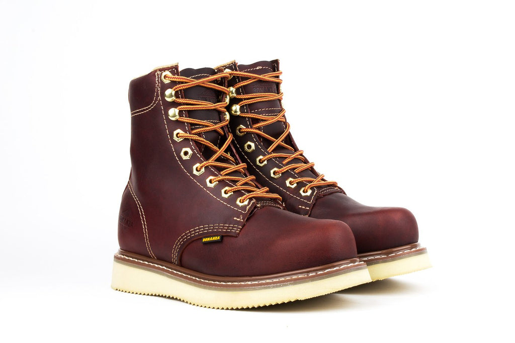 "BONANZA Men's 8"" Burgundy Work Boots - Plain Toe"