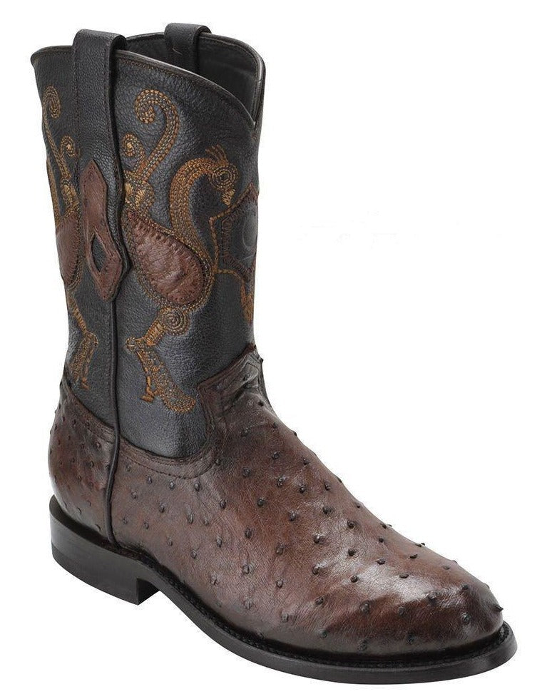 CUADRA Men's Brown Full Quill Ostrich Roper Boots