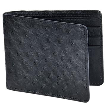 Men's Black Full Quill Ostrich Leather Wallet