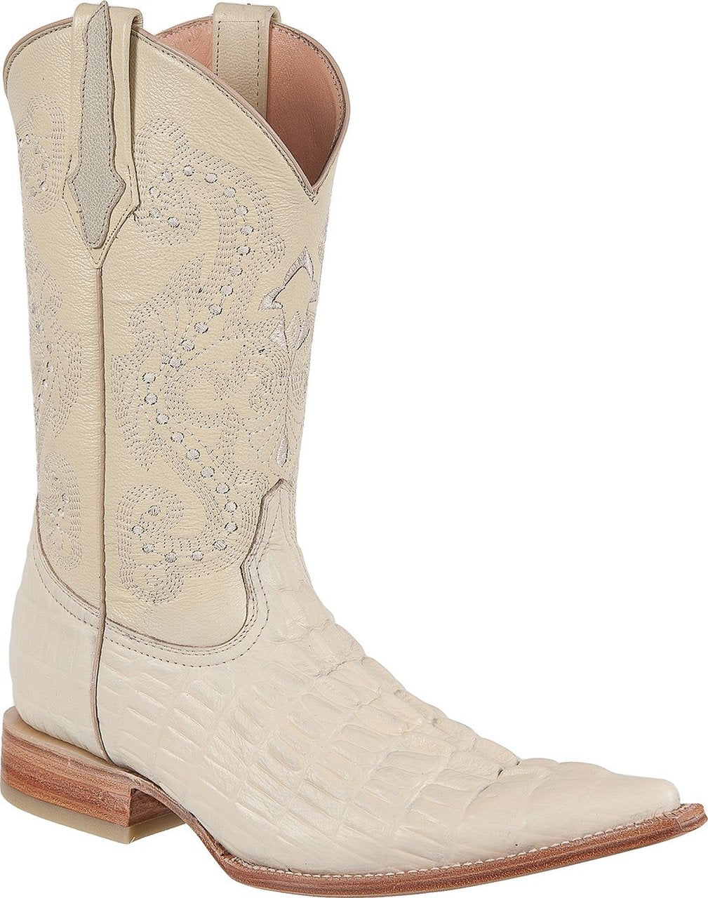 TIERRA BLANCA Men's Bone Crocodile Print Boots - Ch Toe