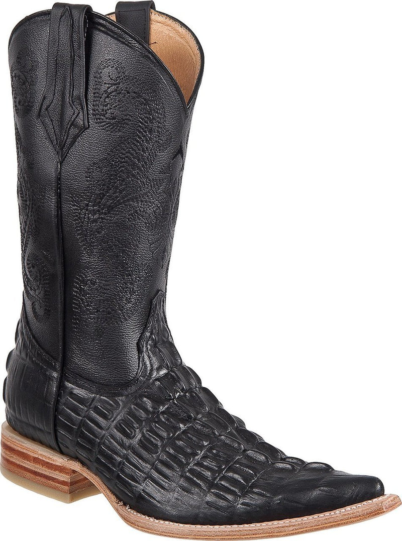 TIERRA BLANCA Men's Black Crocodile Print Boots - Ch Toe