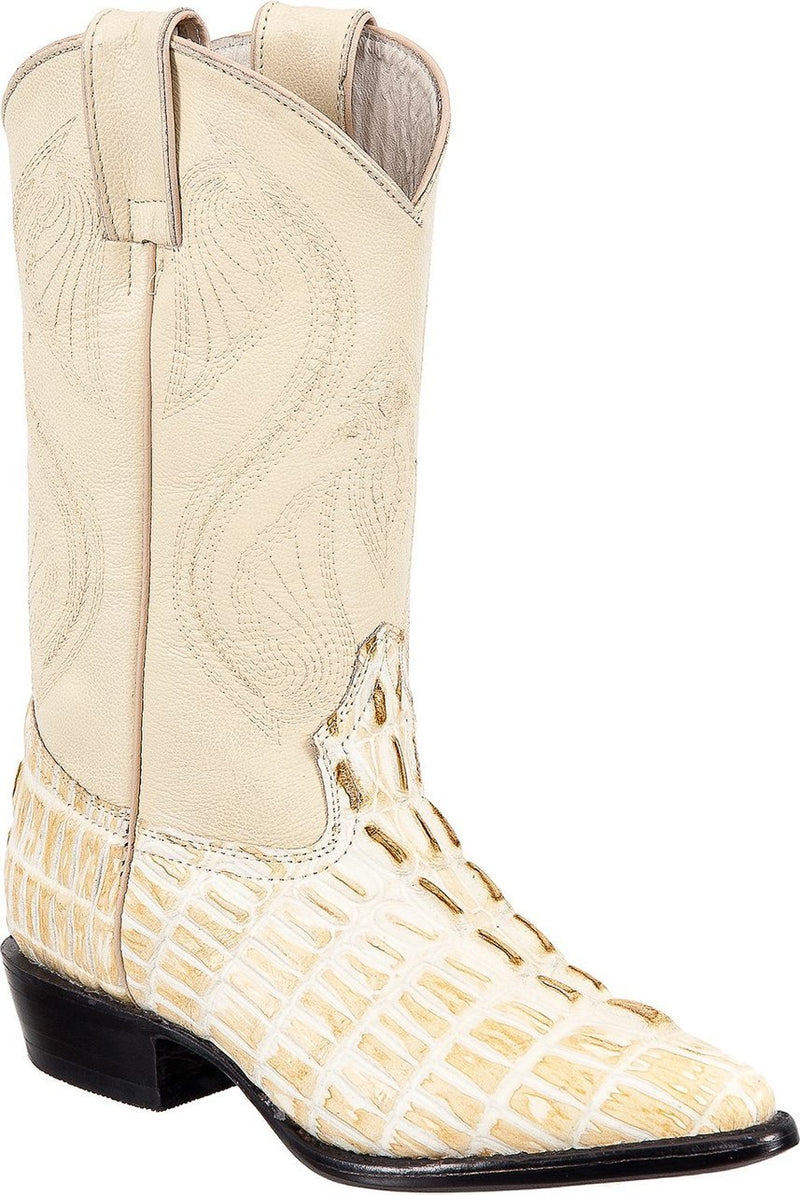 TIERRA BLANCA Youth Bone Crocodile Print Boots