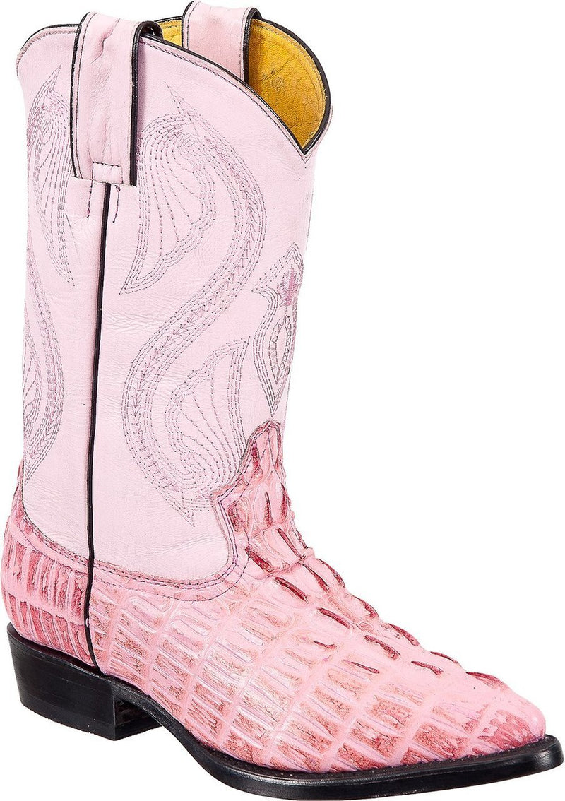 TIERRA BLANCA Youth Pink Crocodile Print Boots