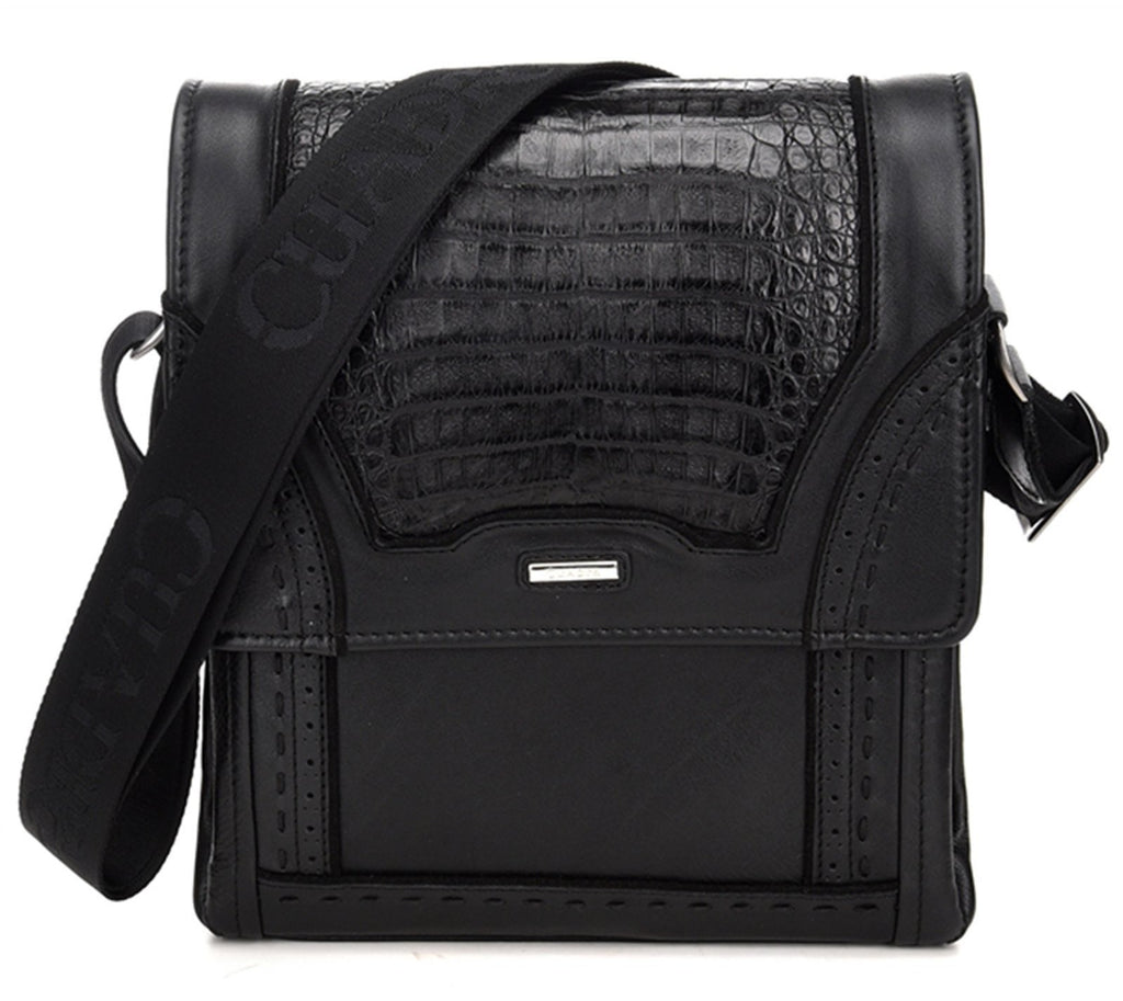 CUADRA Black Caiman Belly Messenger Bag