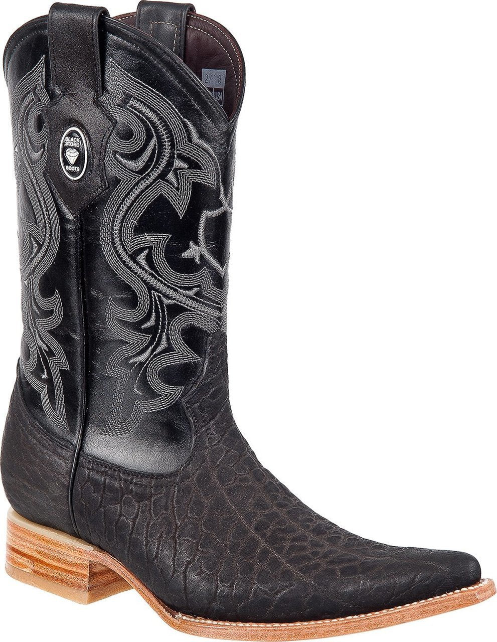 BLACK STONE Men's Black Bull Neck Boots - Ch Toe