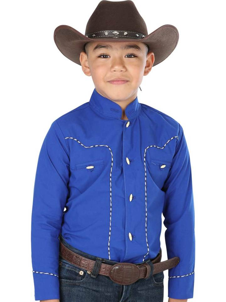 EL GENERAL Boys' Long Sleeve Blue Charro Shirt