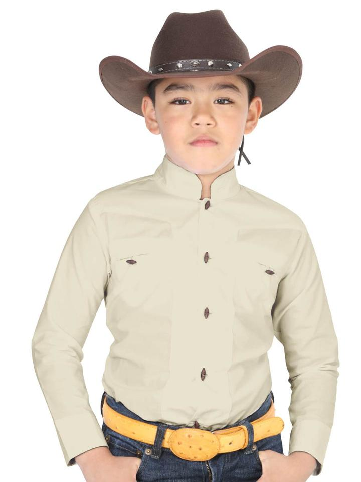 EL GENERAL Boys' Long Sleeve Beige Charro Shirt