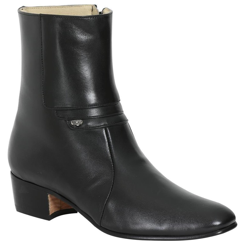 EL BESSERRO Men's Black Goat Ankle Boots