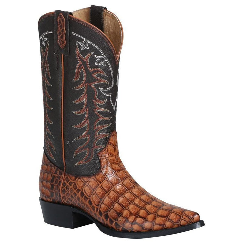 EL GENERAL Men's Cognac Caiman Print Cowboy Boots - Pointed