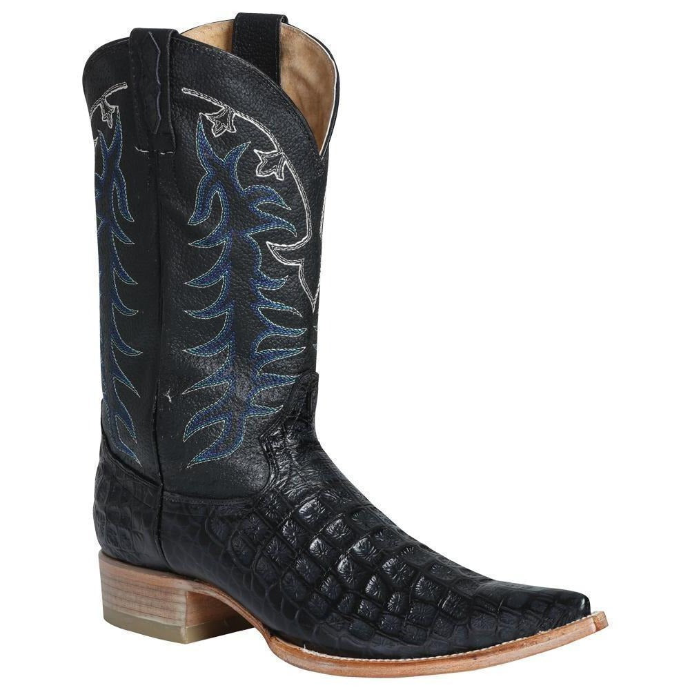 EL GENERAL Men's Black Caiman Print Cowboy Boots - Ch Toe