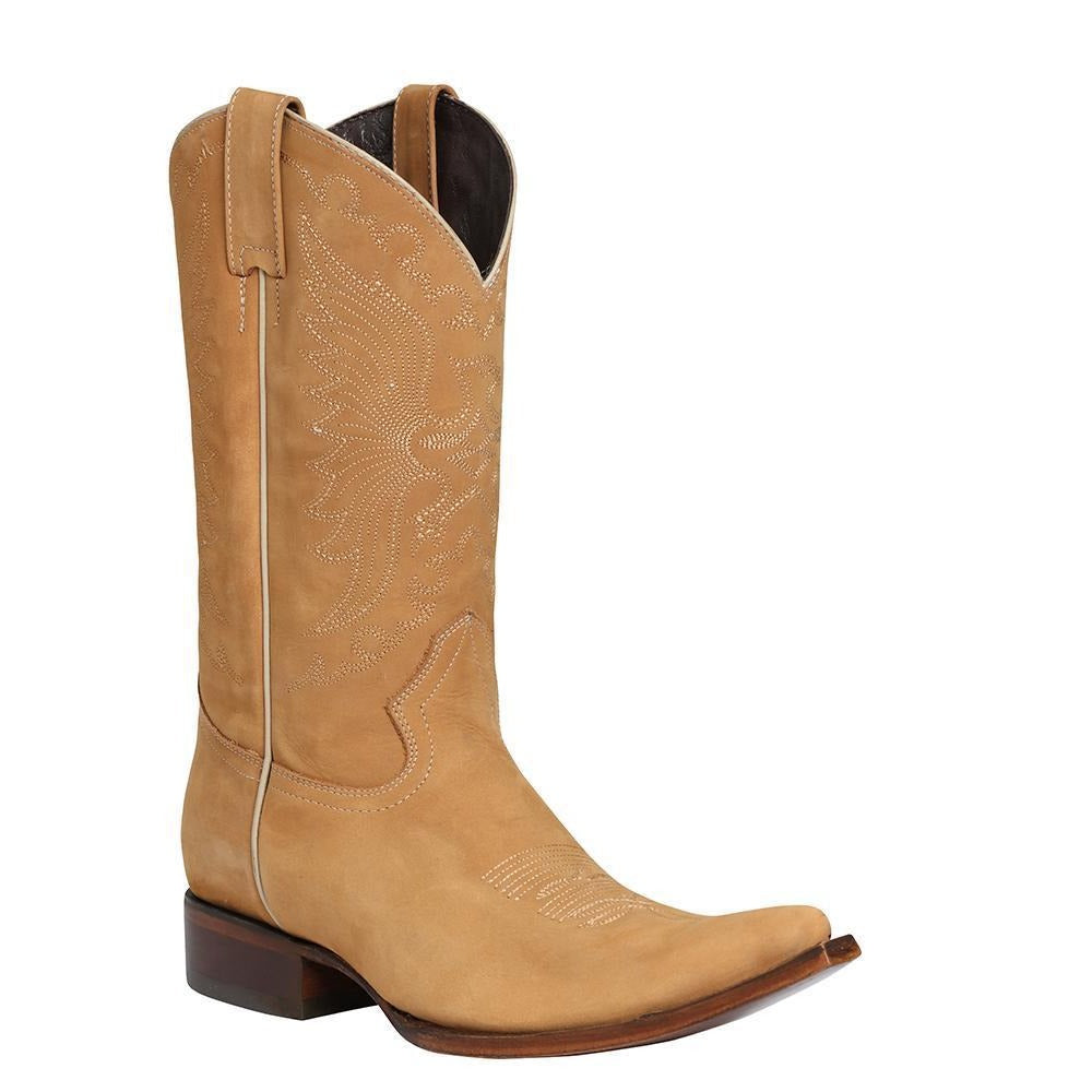 EL GENERAL Men's Tan Nobuck Cowboy Boots - Ch Toe