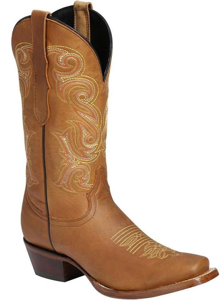EL GENERAL Women's Tan Western Boots - Square Toe