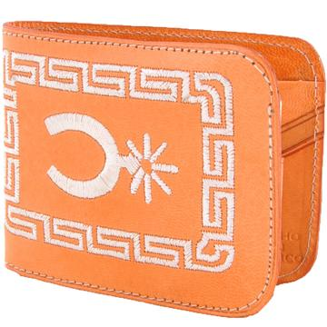 Men's Embroidered Tan Leather Wallet