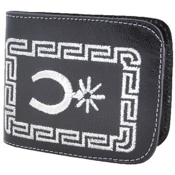 Men's Embroidered Black Leather Wallet