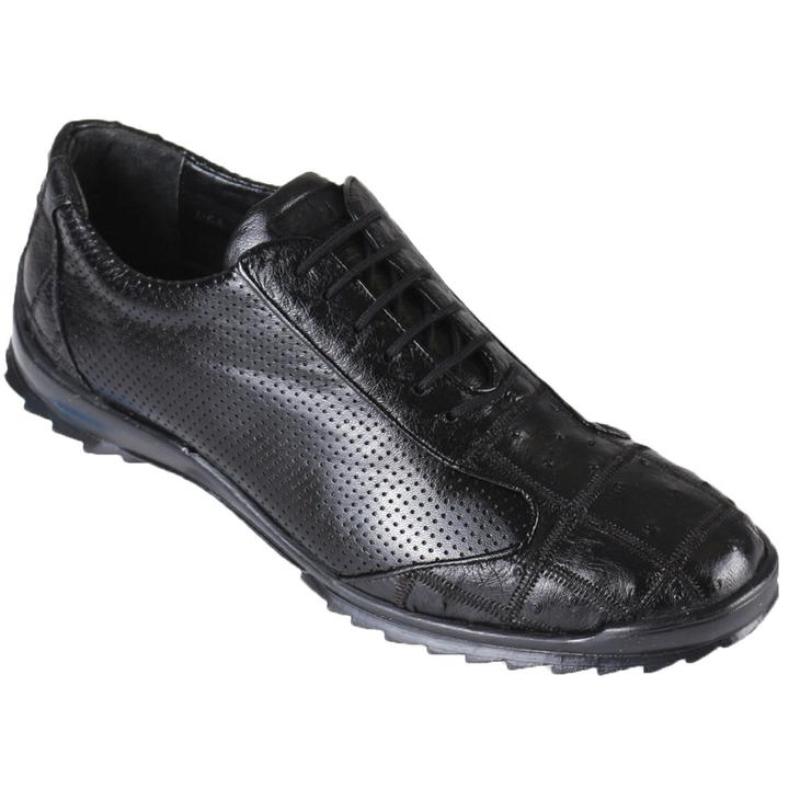 LOS ALTOS Men's Black Ostrich Leg Shoes