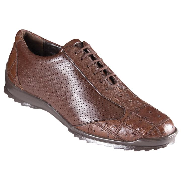 LOS ALTOS Men's Brown Caiman and Ostrich Shoes