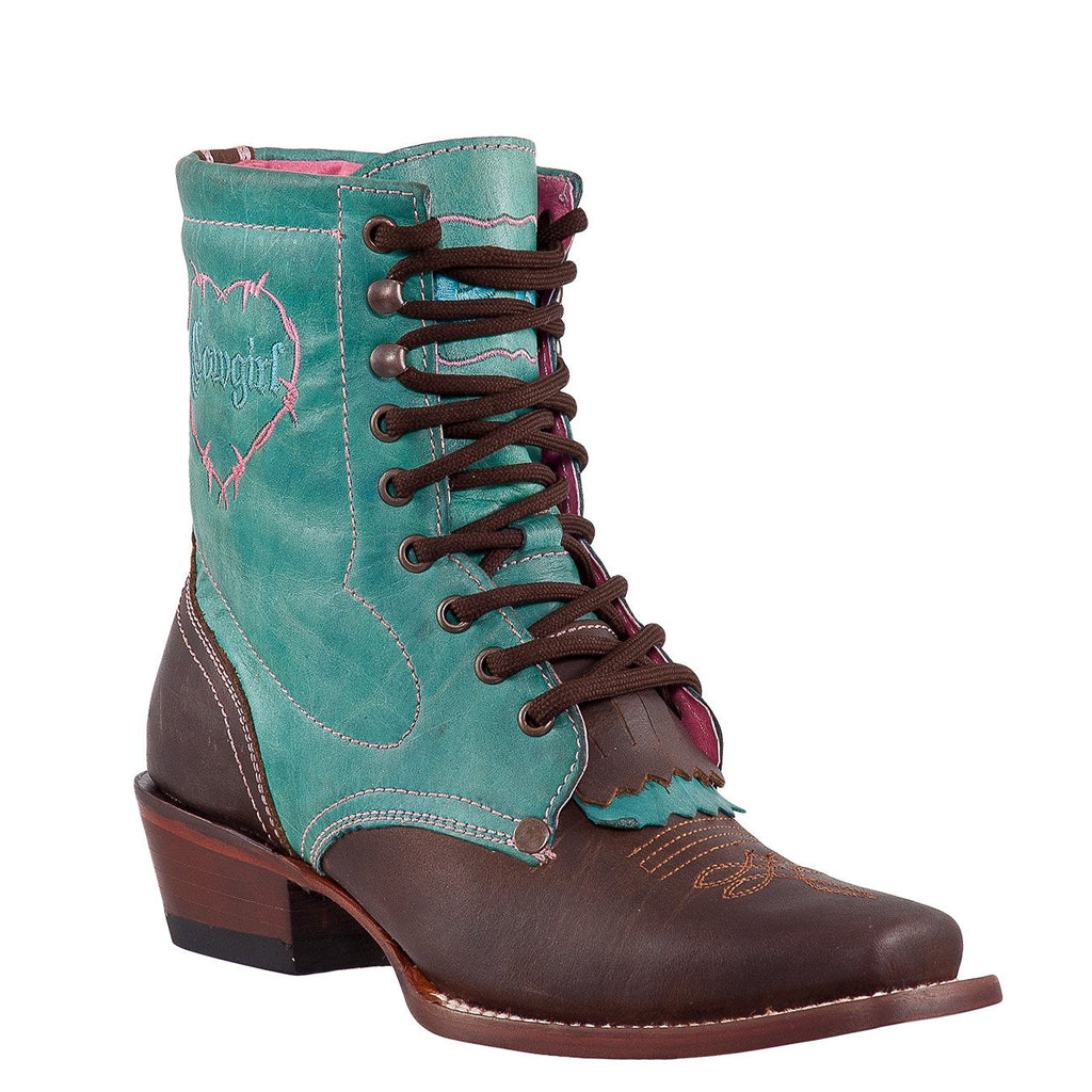 QUINCY Women's Choco/Turquoise Lacer Boots - Square Toe