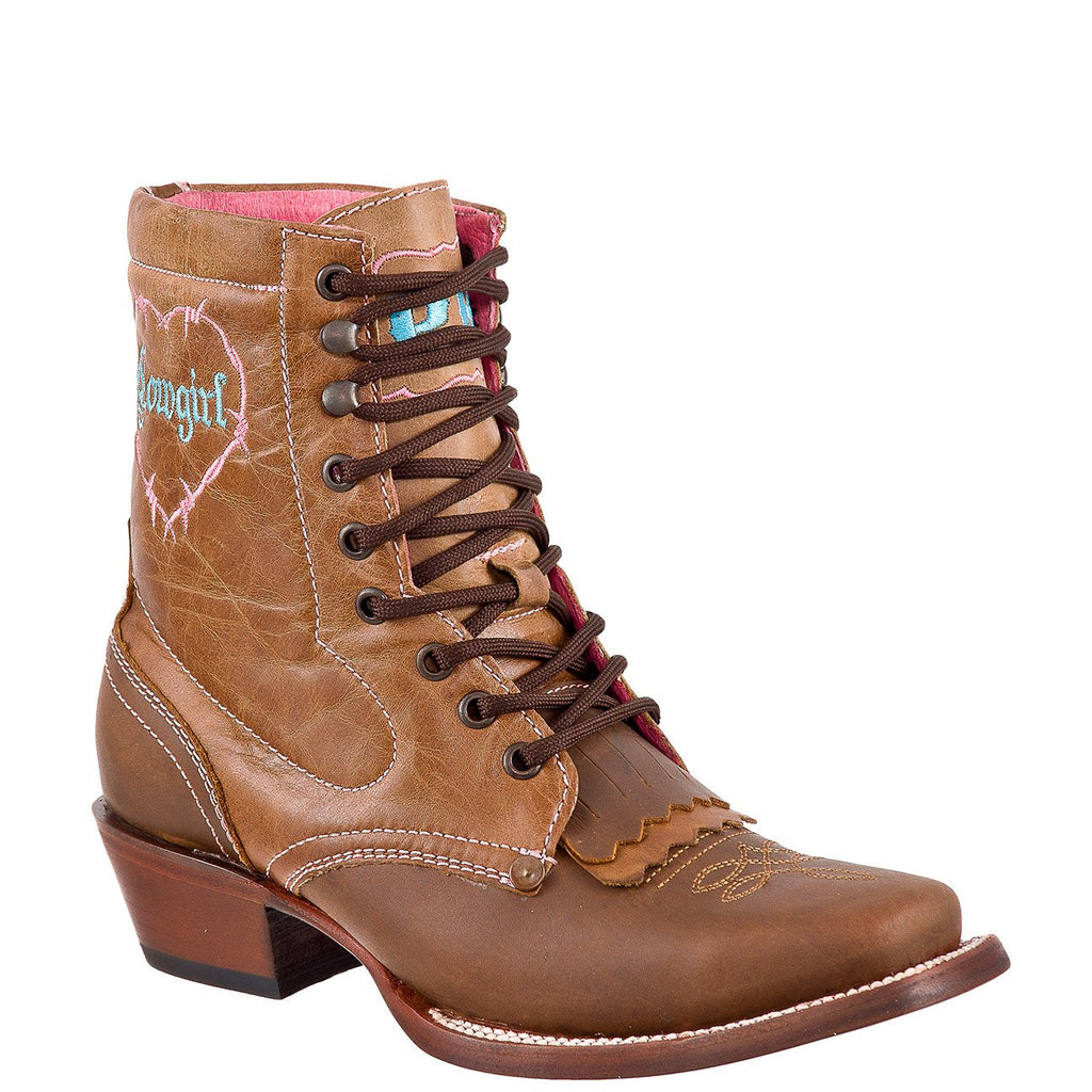 QUINCY Women's Honey/Tan Lacer Boots - Square Toe