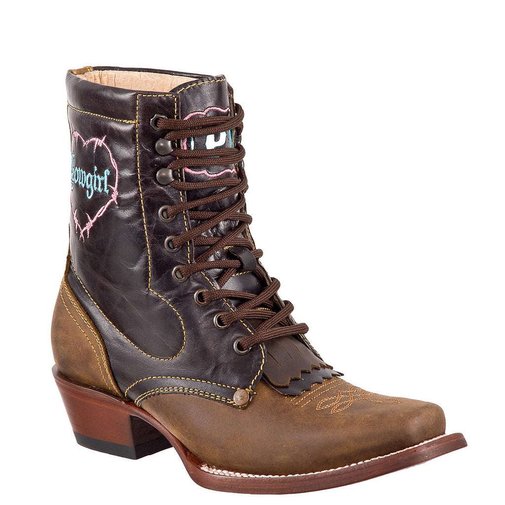 QUINCY Women's Honey/Choco Lacer Boots - Square Toe