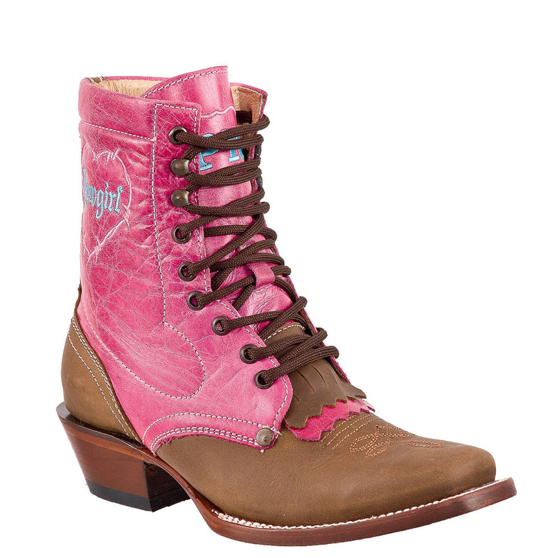 QUINCY Women's Honey/Pink Lacer Boots - Square Toe