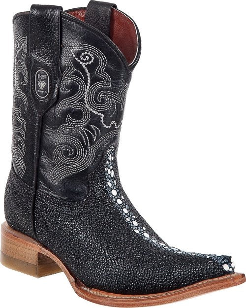 BLACK STONE Kids' Black Stingray Print Boots - Ch Toe