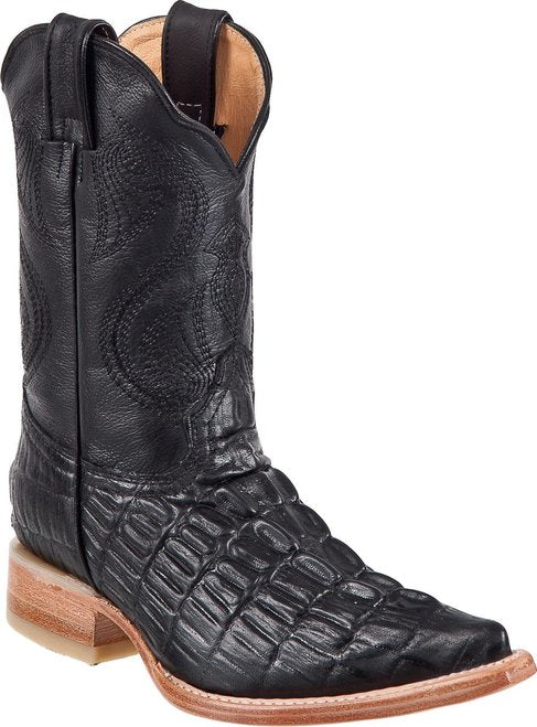 DIEGO'S Kids' Black Crocodile Print Boots - Ch Toe