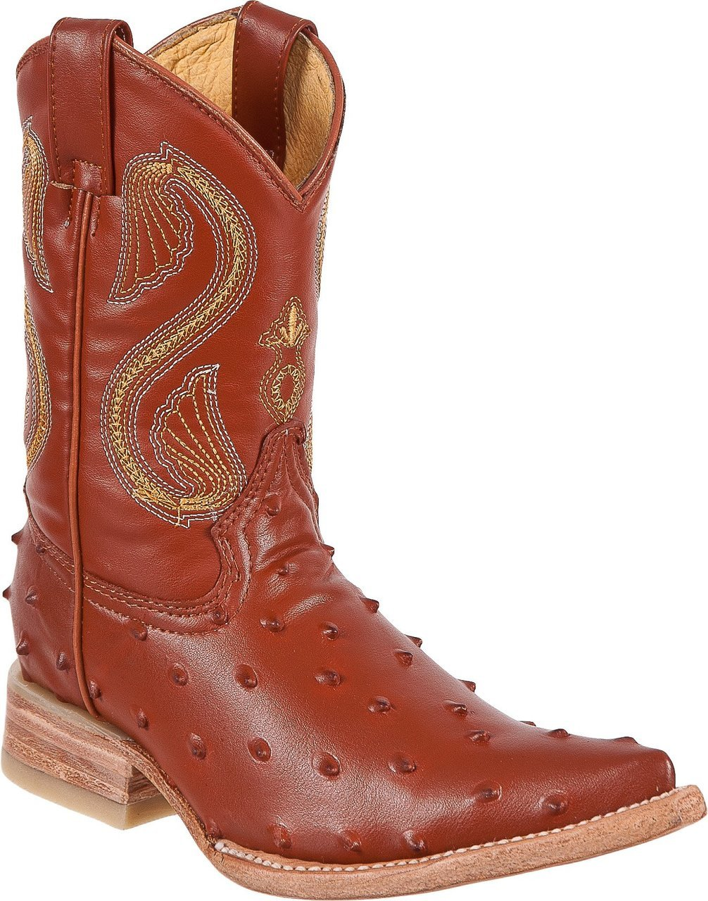DIEGO'S Kids' Cognac Ostrich Print Boots - Ch Toe