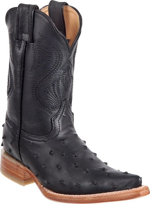DIEGO'S Kids' Black Ostrich Print Boots - Ch Toe