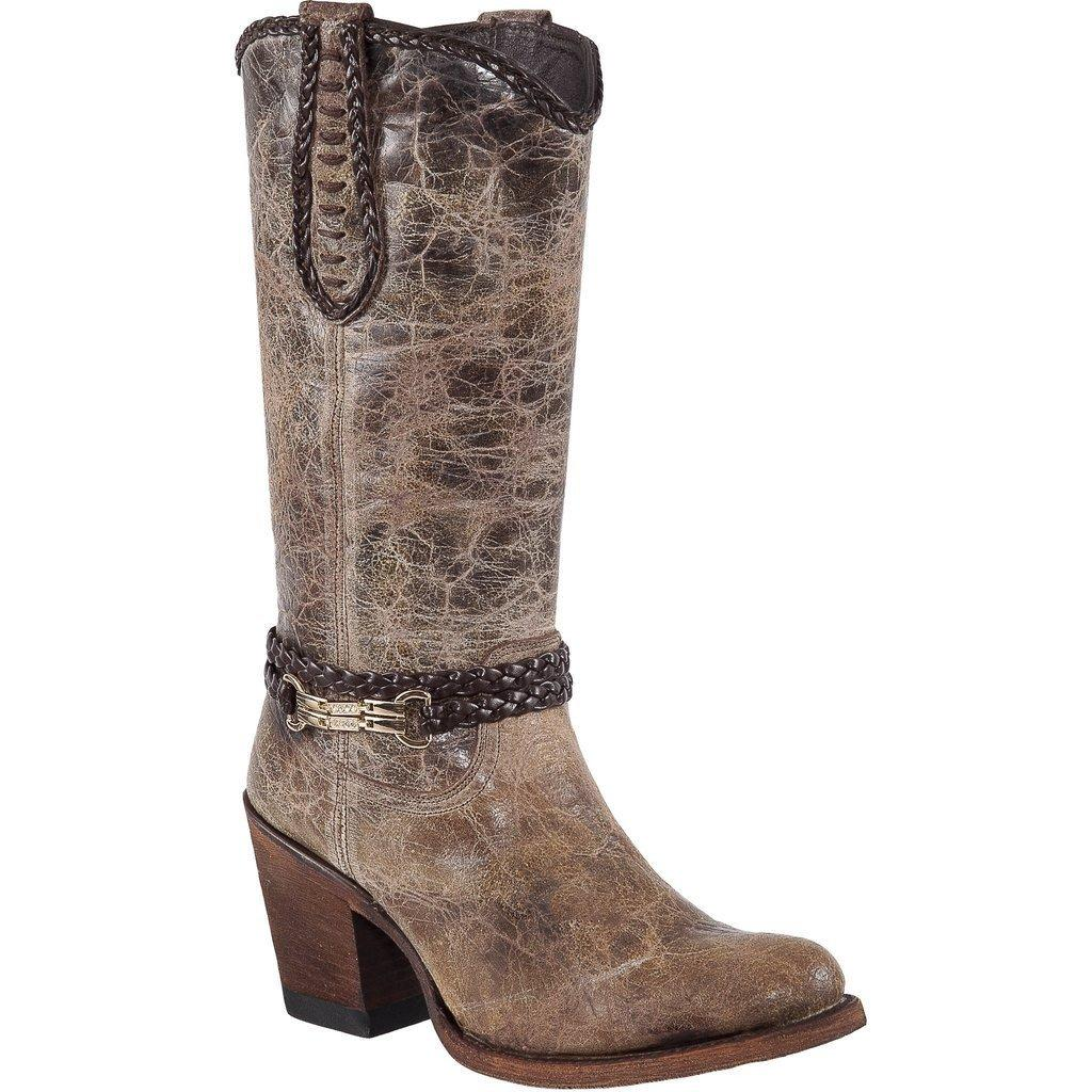 QUINCY Women Mocha Boots - Round Toe