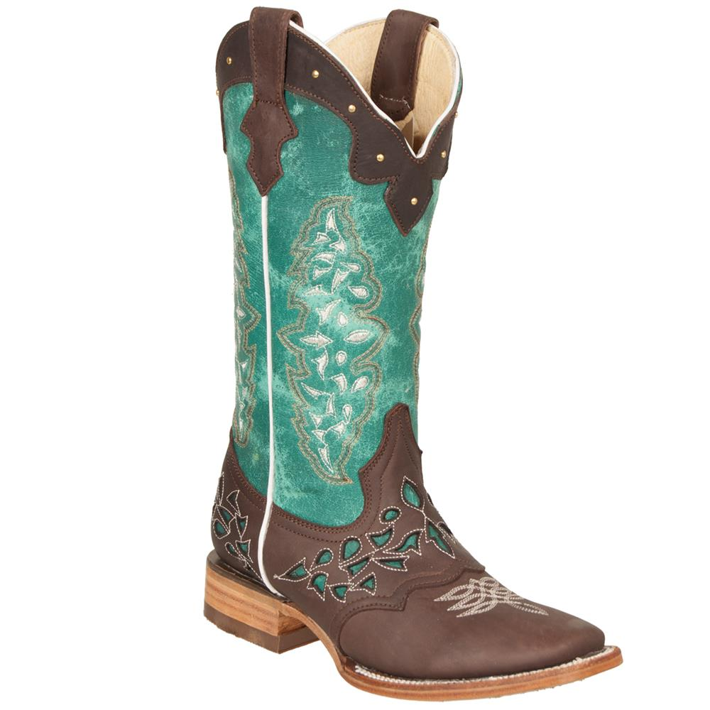 QUINCY Women's Choco/Turquoise Western Boots - Square Toe