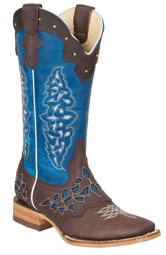 QUINCY Women's Choco/Blue Western Boots - Square Toe