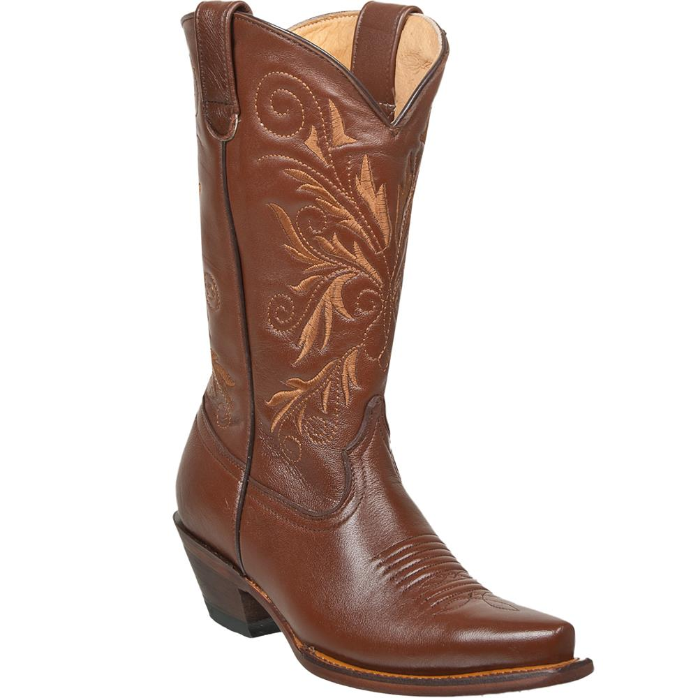QUINCY Women's Brown Western Boots - Snip Toe