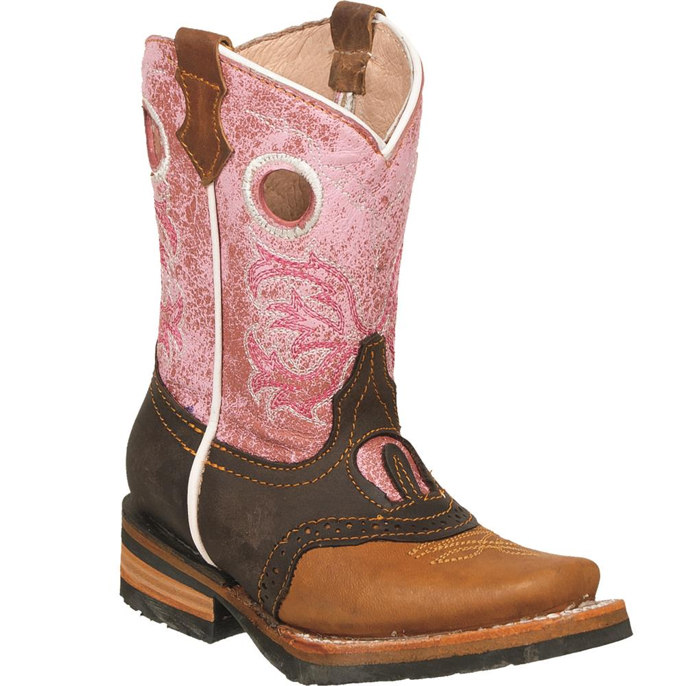QUINCY Kids' Tan/Pink Rodeo Boots