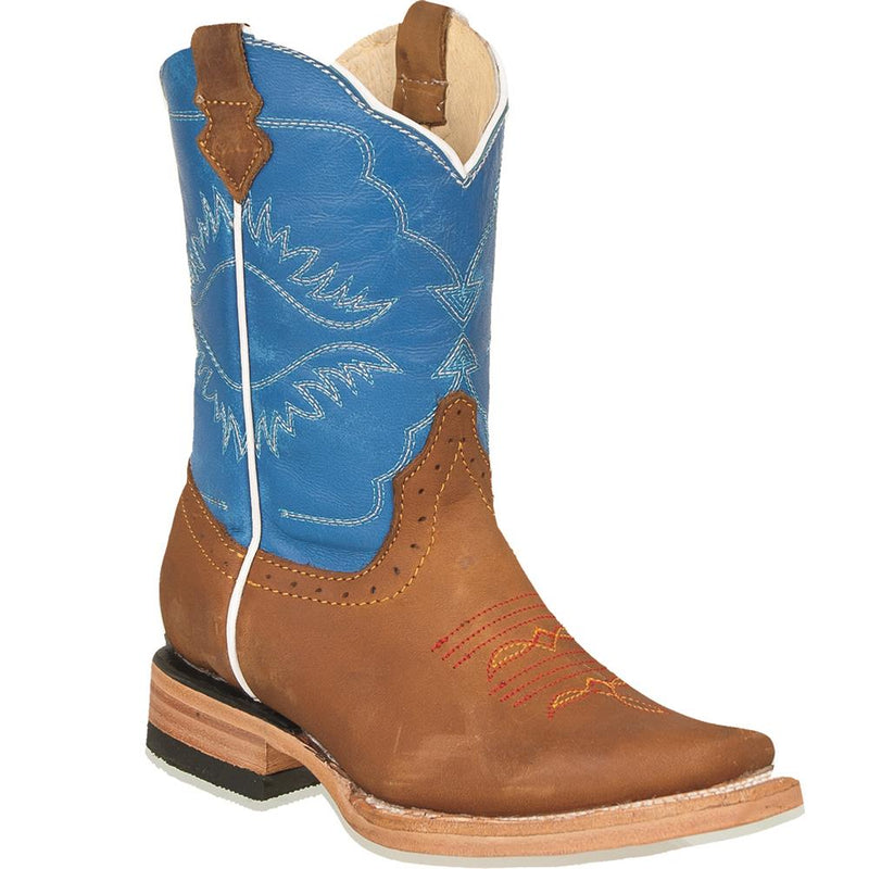 QUINCY Kids' Tan/Blue Rodeo Boots